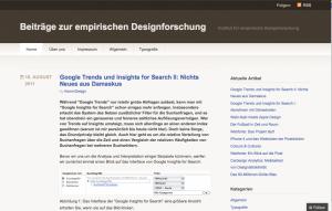 Screenshort der Site Beiträge zur empirischen Designforschung