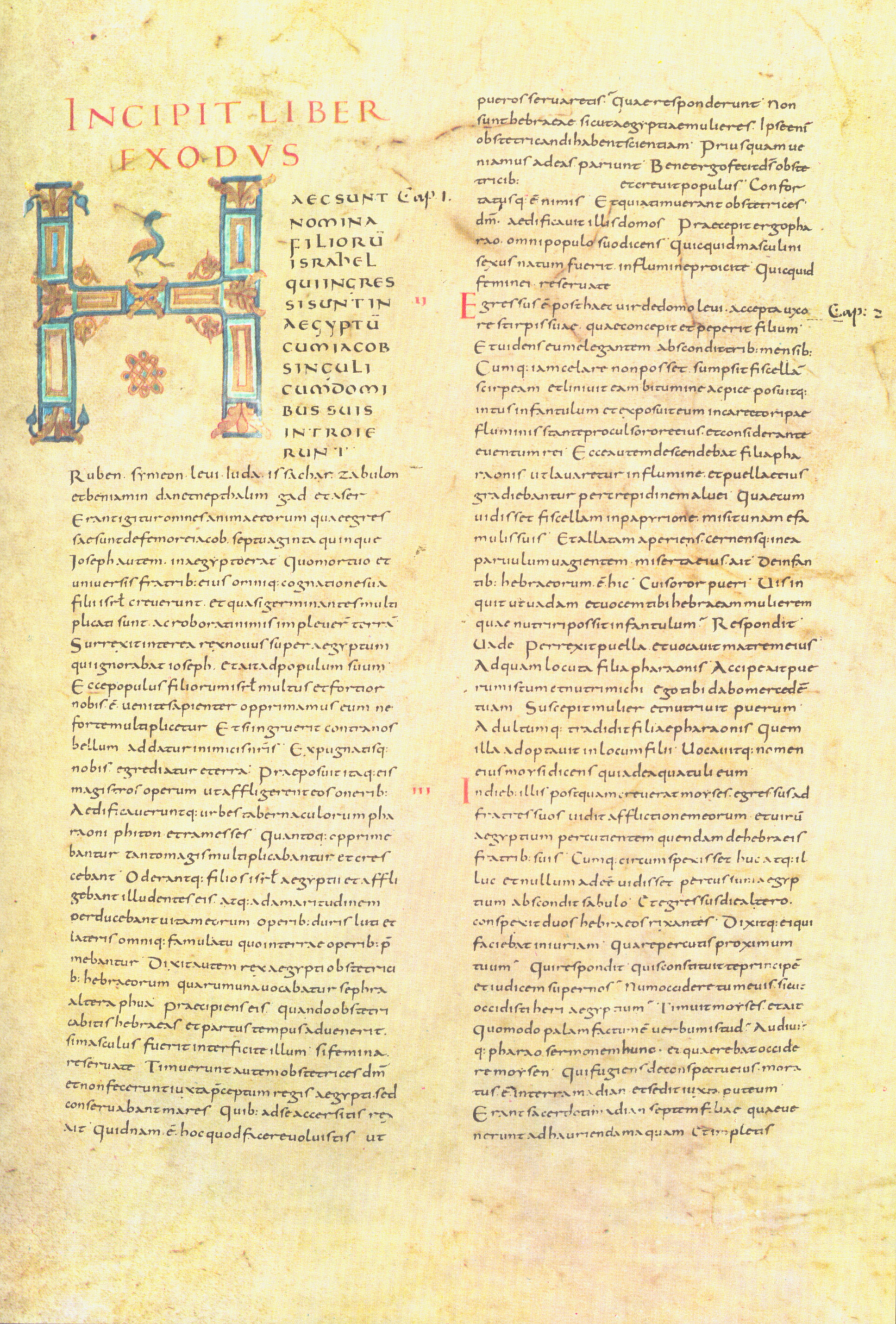 Illustrated script of Alkuin's Bibletext about 840 created in Tours, in Carolingian Minuscles