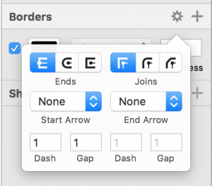 Screenshot of Sketch's inspector border section